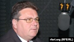 Lithuanian Foreign Minister Linas Linkevicius during an interview at RFE/RL's Washington offices