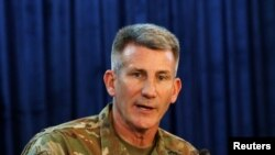 U.S. Army General John Nicholson, commander of U.S.-led forces in Afghanistan, in Kabul on April 14.
