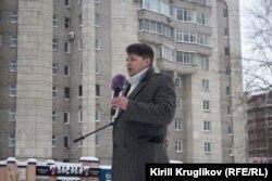 Григорий Винтер на акции в защиту Пуловского леса в Череповце. Ноябрь 2018 года