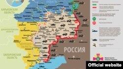Карта: ситуация в зоне боевых в Донбассе, 13 июня 2015 года.