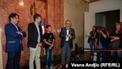 Ministar Ivan Tasovac, reditelj Vuk Ršumović, glumac u filmu Denis Murić i producent Miroslav Mogorović, foto: Vesna Anđić