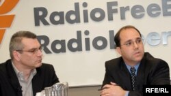 U.S. - (l-r) Richard Giragosian, Contributing Analyst, Jane's Information Group; Cory Welt, Associate Director, Eurasian Strategy Project, Georgetown University, RFE/RL briefing, Washington, D.C., 14Apr2008