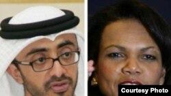 کاندولیزا رایس، وزیر امور خارجه آمریکا و شيخ عبدالله بن زايد، وزير امور خارجه امارات
