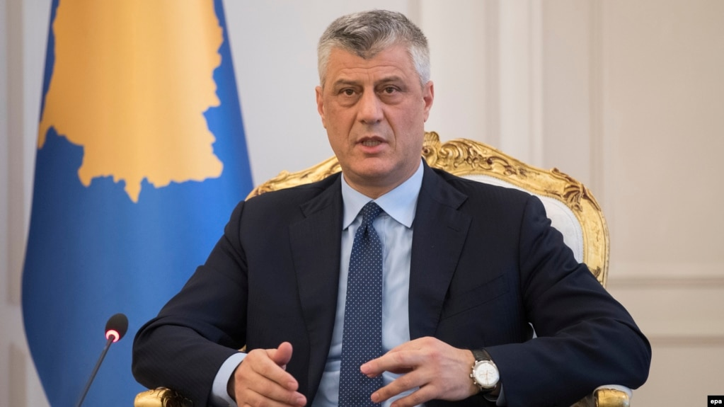 "Kosovo President Hashim Thaci called the proposal ""a normal step of a sovereign and independent state."" (file photo)"