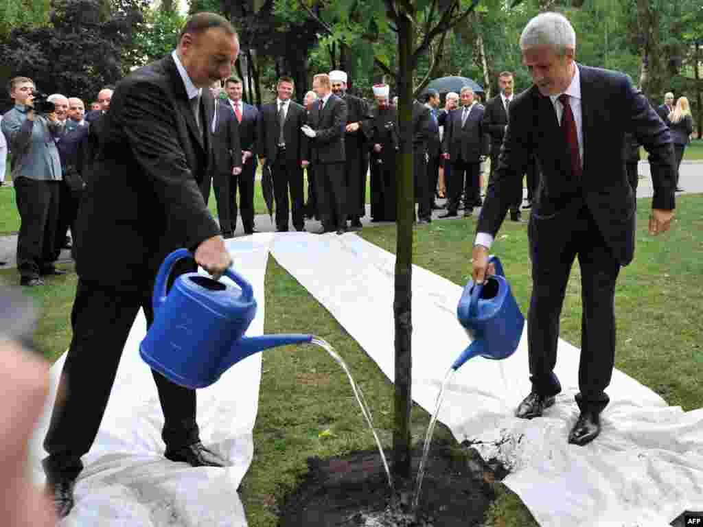 "Serbian President Boris Tadic (right) and his Azerbaijani counterpart, Ilham Aliyev, water a newly planted ""friendship"" tree in Belgrade.Photo by Andre Isakovic for AFP"