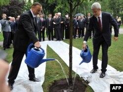 Prezident İlham Əliyev (solda) həmkarı Boris Tadic ilə (sağda) Serbiyada yeni əkilən dostluq ağacını suvarırlar, 8 yanvar 2011