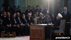 Иран президенті Хассан Роухани баспасөз жиынында сөйлеп отыр. Тегеран, 17 қаңтар 2016 жыл.