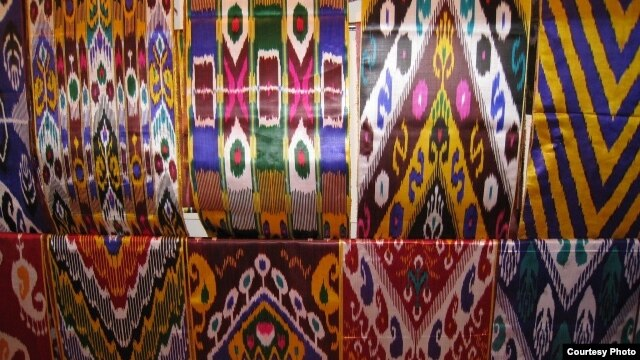 "The vividly colored and intricately patterned silk fabric known to Uzbeks as ""atlas"" is an essential part of the national costume."