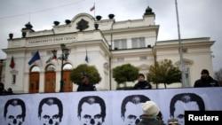 Студенттердің премьер-министр Пламен Орешарскиді кекеп салған суреті. София, 13 қараша 2013 жыл.