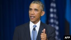 АҚШ президенті Барак Обама баспасөз жиынында сөйлеп тұр. Таллин, 3 қыркүйек 2014 жыл.