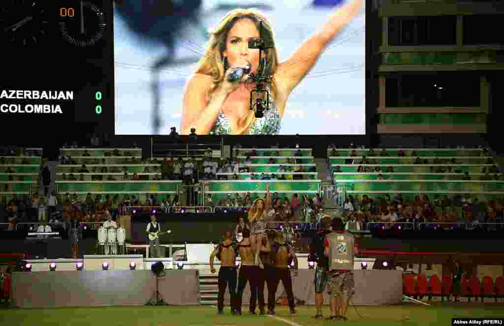 U.S. pop singer Jennifer Lopez performs in Baku, Azerbaijan, during the opening ceremony of the soccer Women's World Cup for under-17-year-olds on September 22, 2012.