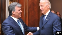 Turkish President Abdullah Gul (left) receives U.S. Vice President Joe Biden at the Presidential Palace in Ankara on December 2.