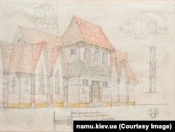 Федір Кричевський. Архітектурний ескіз, начерки орнаментів. 1920–1930-і роки