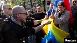 Конфликт в ходе антивоенного марша в Москве в сентябре 2014 года