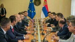 Members of the Srpska Lista party at a meeting in Belgrade on September 9.