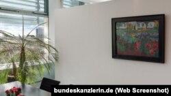"""""""Flori în grădină la Alsen"""", un tablou de Emil Nolde, în oficiul de la Berlin al cancelarului Angela Merkel"""