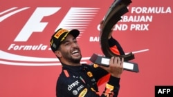 Daniel Ricciardo celebrates after winning the Azerbaijan Grand Prix on June 25.