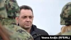 Serbian Defense Minister Aleksandar Vulin attends military exercises in November.