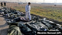 صحنهای از جمعآوری اجساد قربانیان سرنگونی پرواز ۷۵۲، ۱۸ دی ۹۸
