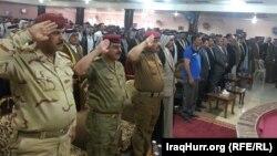 На собрании с лидерами племен в поддержку армии Ирака в борьбе с исламистскими группировками. Бабил, 13 июня 2014 года.