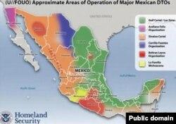 Карта Мексики с приблизительным обозначением зон влияния крупнейших наркокартелей