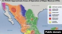 Карта Мексики с приблизительным обозначением зон влияния крупнейших наркокартелей. По состоянию на начало 2013 года