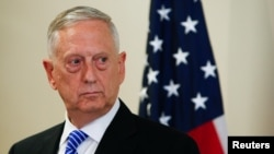 Germany -- U.S. Defence Secretary Jim Mattis is seen at a press conference before the commemoration of the 70th anniversary of the Marshall Plan at the George C. Marshall Center in Garmisch-Partenkirchen, June 28, 2017