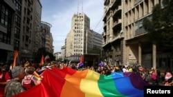 Detalj sa Parade ponosa u Beogradu (septembar 2016)