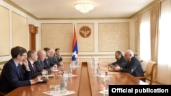 Nagorno-Karabakh -- Bako Sahakian, the Karabakh president, meets with the U.S., Russian and French co-chairs of the OSCE Minsk Group, Stepanakert, October 16, 2019.