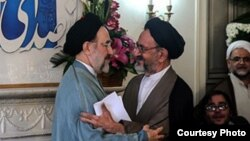 "Former President Mohammad Khatami (left) was described by Mahmud Doaei (right) as ""the noble, popular, and distinguished character of the revolution."""