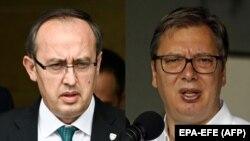 Премьер-министр Косово Авдулла Хоти (л) и президент Сербии Вучич (п)