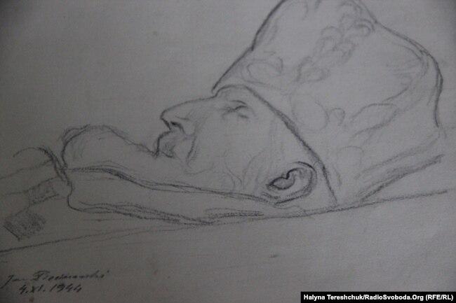 Рисунок Гжеціманського. Митрополит у домовині