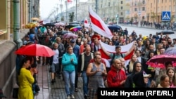 Hundreds took part in the MInsk rally on the 11th day of protests on August 19.