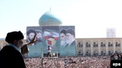 Supreme Leader Ayatollah Ali Khamenei addresses a crowd (undated)