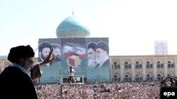 Supreme Leader Ayatollah Ali Khamenei addresses a crowd (undated)