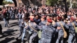 Armenia - Large protests were under way on April 16 in the Armenian capital, Yerevan, aimed at preventing former President Serzh Sarkisian from retaining power as prime minister. screen grab