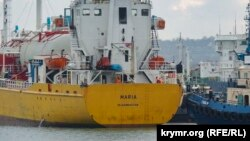 Ukraine, Crimea - in the port of Kerch ship went down under a foreign flag, 21Dec2015