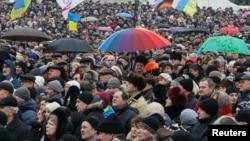 """Акция в поддержку телеканала """"Дождь"""" на Евромайдане"""