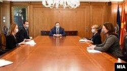 Средба на хрватската амбасадорка во Скопје, Нивес Тигањ, и премиерот Оливер Спасовски