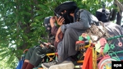 Taliban fighters in Buner district on April 24