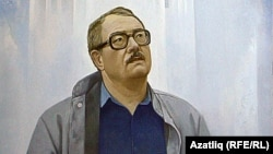 Bashkortostan - Tufan Minnullin, playwright, a painting by Fakil Gayfutdinov, Ufa, undated
