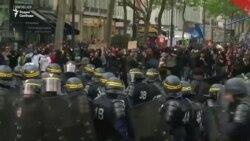 Беспорядки на марше профсоюзов в Париже