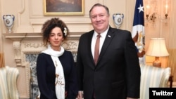 Secretary of State Mike Pompeo meets with Iranian women's rights activist Masih Alinejad .
