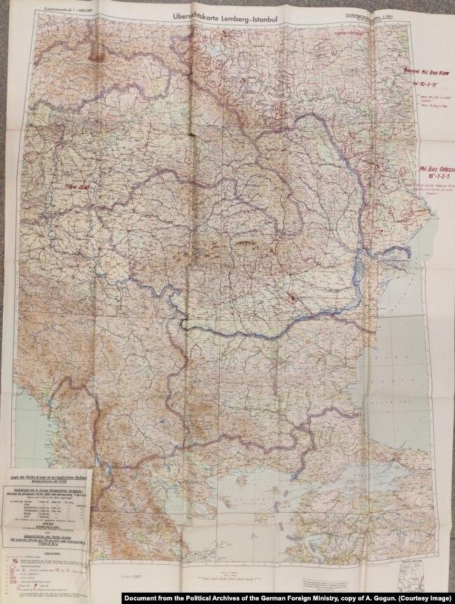 Составленная на основании донесений разведки карта сосредоточения первого стратегического эшелона Красной армии у границ Румынии на 11 июня 1941 г. Документ из Политического архива МИД Германии, копия А. Гогуна