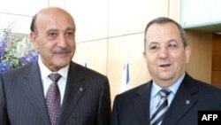 Омар Сулейман (слева) с минобороны Израиля Эхудом Бараком, Тель-Авив, 12 мая 2008
