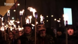 Ukrainians Hold Torchlight March To Honor Nationalist Leader