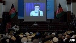 Гүлбиддин Хекматияр Кабулмен бейбіт келісімге қол қойғаны туралы видеода. Кабул, Ауғанстан, 29 қыркүйек 2016 жыл.