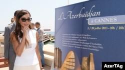 Azerbaijani first lady Mehriban Aliyeva at an event in Baku in 2015