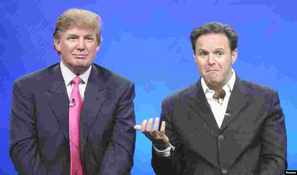 Trump (left), with producer Mark Burnett in 2004, became a TV star with his reality show, The Apprentice. Contestants competed for a chance to work for him. It aired for 14 seasons.