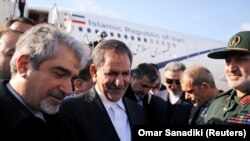 Iranian Vice President Eshaq Jahangiri arrives at Damascus international airport in Damascus, January 28, 2019